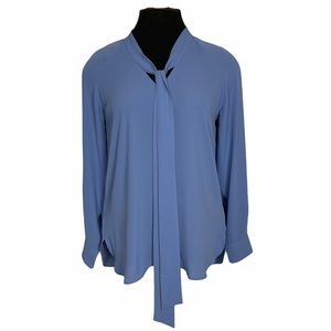 Loft Long Sleeve Rayon Top with Neck Tie Blue XS